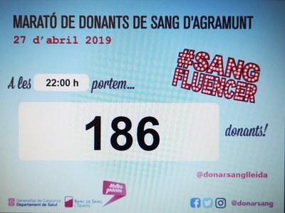 186 donacions a La Marató de Donants de Sang d'Agramunt