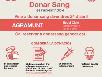 Agramunt es suma a les iniciatives per donar sang durant el període de confinament
