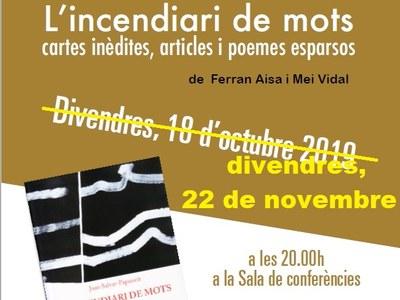 Ajornada la presentació del llibre 'Joan Salvat-Papasseit. L'incendiari de mots, cartes inèdites, articles i poemes esparsos'
