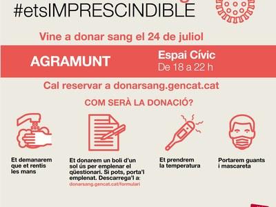 Campanya de donació de sang a l'Espai Cívic el 24 de juliol