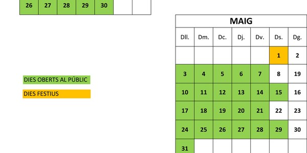 Calendari de l'Oficina del Porta a Porta.