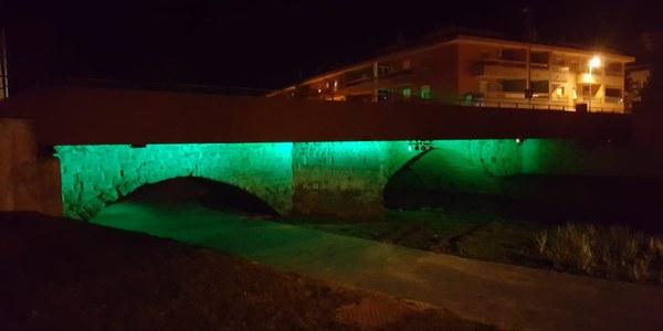 El pont romànic il·luminat de color verd