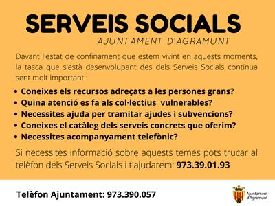 Els Serveis Socials continuen sent serveis bàsics durant el confinament