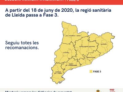 La regió sanitària de Lleida entra a la Fase 3 del desconfinament