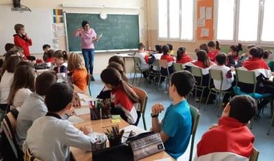 Taller de poesia a l'escola Macià-Companys  amb Meritxell Cucurella-Jorba