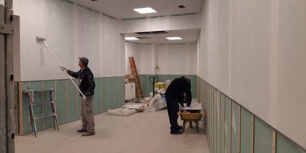 Imatge de les obres que s'estan executant a la planta baixa.