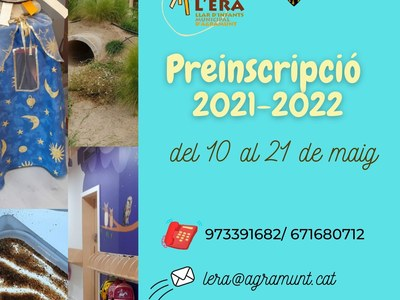 PREINSCRIPCIÓ A LA LLAR D'INFANTS L'ERA