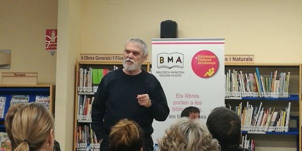Artur Junqueras durant l'acte a Agramunt